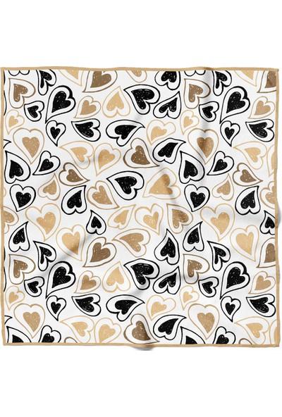 Moda Butik Kadın Kalp Desenli Bandana 50X50 Siyah Sarı DG0284