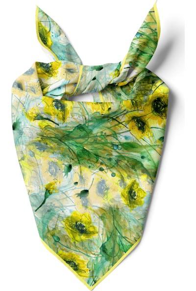 Moda Butik Kadın Egzotik Desenli Bandana 50X50 Yeşil Beyaz Dg