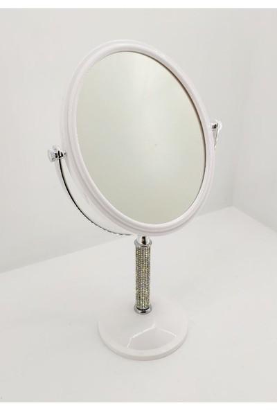 365gunserisonu Beyaz Çift Taraflı Büyüteçli 13X16 Çapında Taşlı Ayaklı Masa Makyaj Aynası