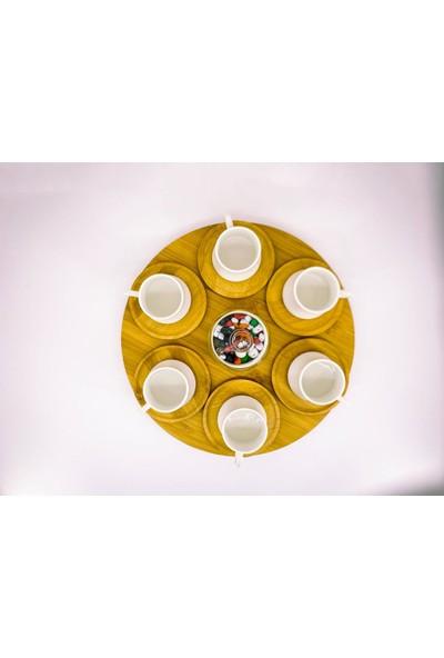 Yuvam Bambu Tabaklı 15 Parça & Şekerlikli Döner Fincan Seti