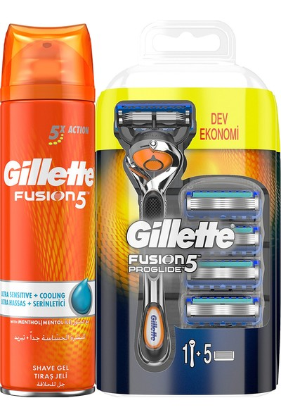Gillette Fusion Proglide Fırsat Paketi – Fusion Makine + 4 Bıçak Fusion Serinletici 200 ml Jel