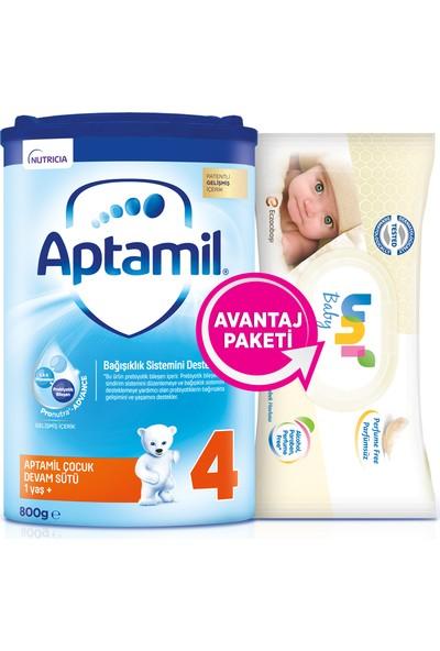 Aptamil 4 Çocuk Devam Sütü 800GR + Uni Baby Islak Mendil Hediyeli