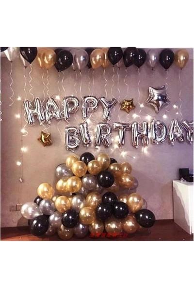 Beysus Happy Birthday Doğum Günü Balonu Kombini Gümüş