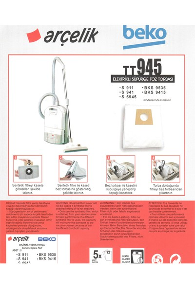 E-Ticaret Arena Arçelik S 6945 Süpürge Modeli 5 Adet Toz Torbası TT945