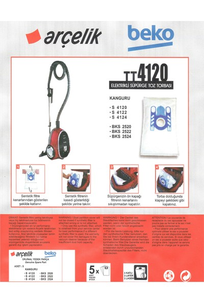 E-Ticaret Arena Beko Bks 2520 Süpürge Modeli 5 Adet Toz Torbası TT4120