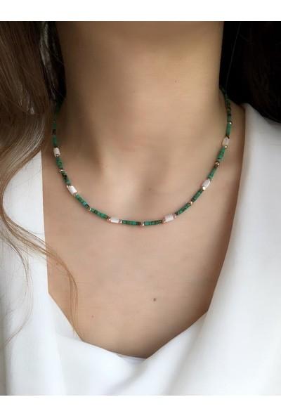 Serpil Jewellery Turkuaz Sedef Doğaltaş Tasarım Kolye