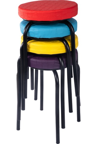 Ekip Shop Tabure Mutfak Sandalyesi Siyah Ayaklı Suni Deri 4 Adet Renkli