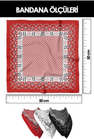 Moda Butik Kadın Seda Desenli Bandana 50X50 Pembe DG0361-22