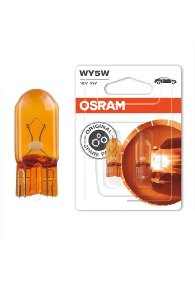 Osram 12V 5W Dipsiz T10 Turuncu Park Ampulü (2 Adet)