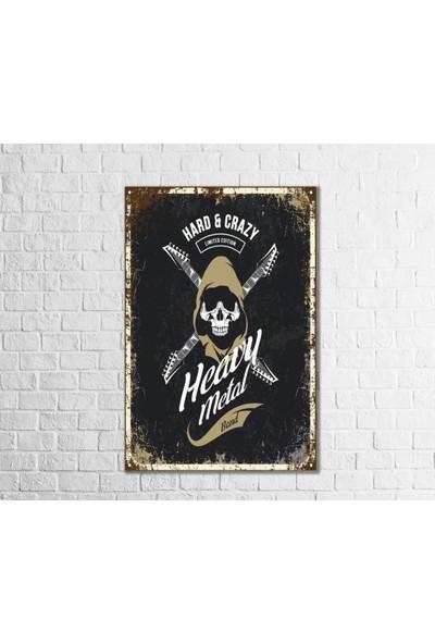Fandomya Ahşap Poster Heavy Metal 12 x 17 Cm Çift Taraflı Bant