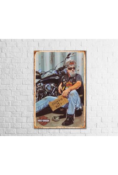 Fandomya Ahşap Poster Harley Davidson-Iıı 12 x 17 Cm Çift Taraflı Bant