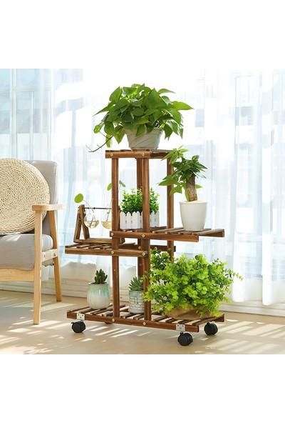 Eng Ahşap Saksı Standı 4 Katlı Ahşap Çiçeklik Dekoratif Tekerlekli Çiçek Standı