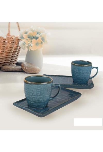 Keramika 4 Parça Atıştırmalık Doğaltaş Kahve Fincanı