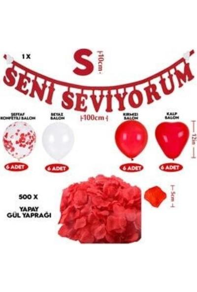 Beysüs Sevgililer Günü Balonları Dekorasyon Set Seni Seviyorum Yazı, Kalp Balon
