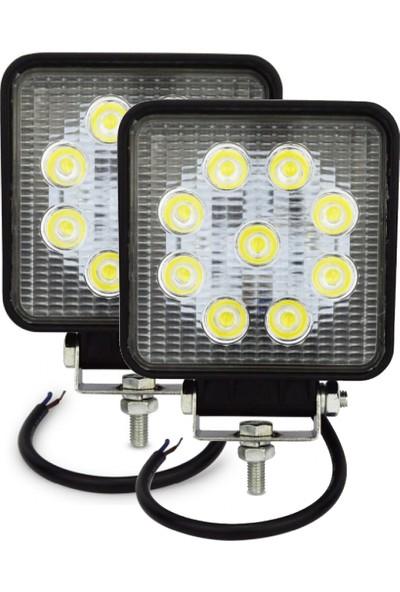 Hilal Shops Off Road Kare Sis Farı Sis Lambası 9 LED Su Geçirmez 12-24V Güçlü x 2 Adet