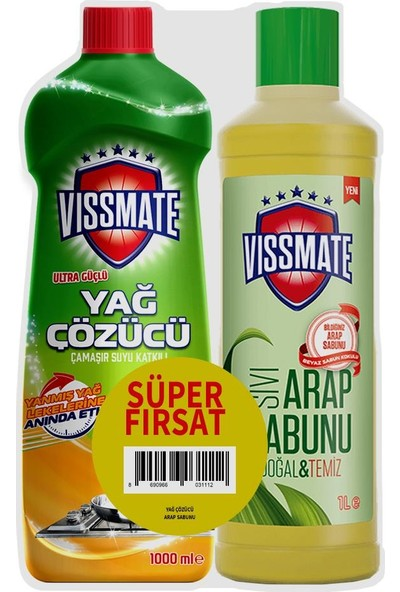 Vissmate Mutfak Yağ Sökücü 1000 ml ve Arap Sıvı Sabunu 1000ML Set Ürün