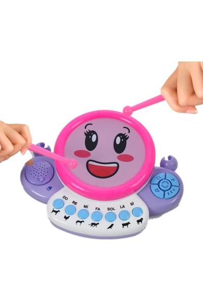 UJ Toys LED Işıklı, Müzikli 2in1 Oyuncak Hayvan Sesli, Bagetli Neşeli Davul-Piyano