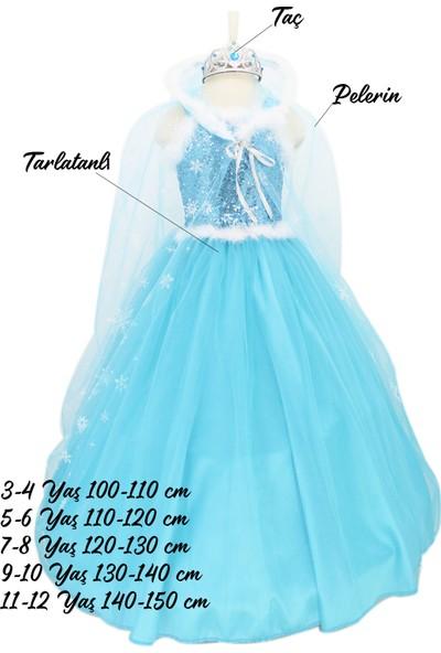 Herkese Kostüm Elsa Kostümü Tarlatanlı Tasarım Taçlı