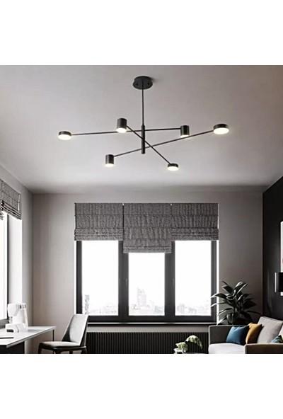 Burenze Tasarım Plafonyer Power LED Avize Siyah 6+1 BURENZE528