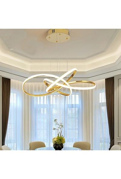 Burenze A+ Modern Sarkıt Power LED Avize Concept Ürün Beyaz Işık Gold Sarı 3