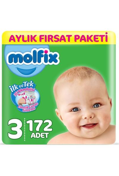 Molfix Bebek Bezi 3 Beden Midi Aylık Fırsat Paketi 172 Adet