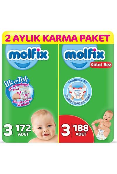 Molfix 3D Bebek Bezi 3 Beden Midi 172 Adet + Molfix Külot Bez 3 Beden Midi 188 2 Aylık Karma Paket