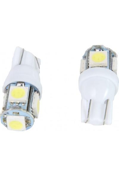 Otoban T10 5050 LED Dipsiz 5 Smd 12 V Beyaz