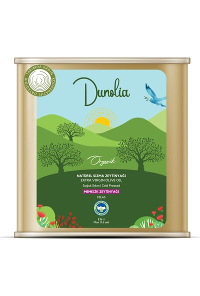 Dunolia Tarımda Kadın Dunolia Organik Natürel Sızma Memecik Zeytinyağı 2lt (Soğuk Sıkım)