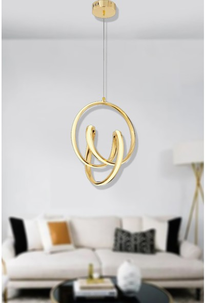 Luna Lighting Modern Luxury LED Avize Gold Sarı