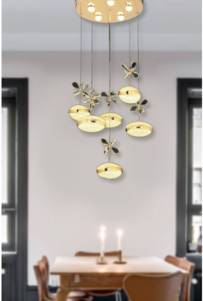 Luna Lighting Luxury 6lı Kristal Taşlı Gold Sarı Sarkıt LED Spor Modern Avize