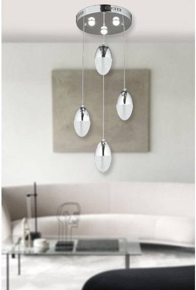 Luna Lighting Modern Luxury 4lü Sarkıt LED Avize Krom