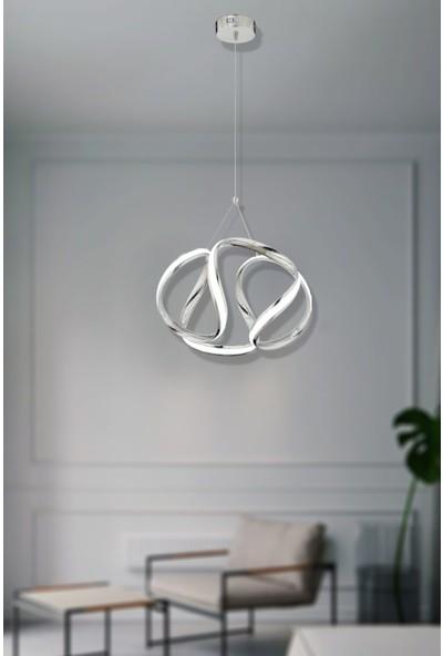 Luna Lighting LED Avize Ledli Sarkıt Krom Luxury Modern Krom