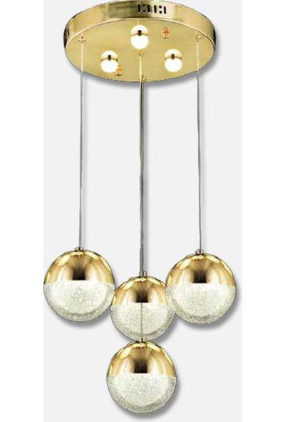 Luna Lighting 4lü Top Gold Sarkıt LED Spor Modern Avize