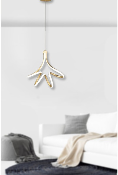 Luna Lighting Modern Luxury LED Avize Sarkıt Tekli Sarı Gold