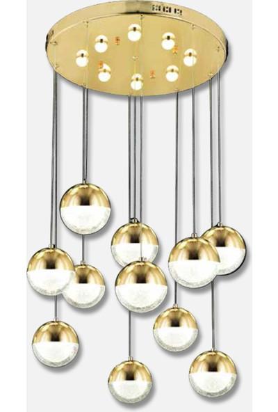 Luna Lighting 11Lİ Top Gold Sarkıt LED Spor Modern Avize