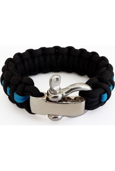 Paracord Ayarlanabilir Bileklik - Kobra Şeritli Siyah Mavi