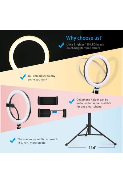 Renksan Youtuber Kuaför Makyaj Çekim Ring Fill Light Işık 2 M Stand