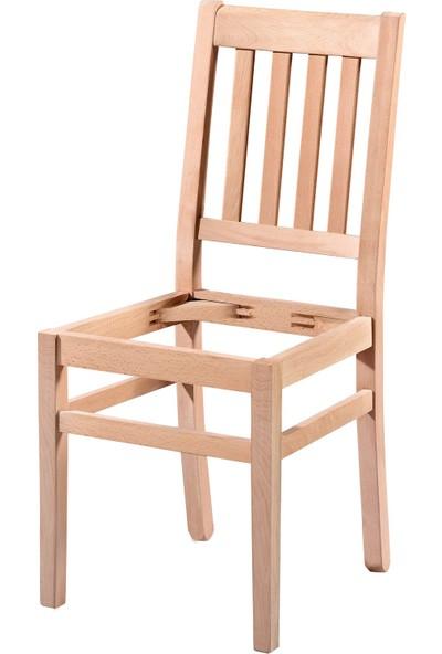 Bendegan 4 Çıtalı Döşemeli Cilasız Ahşap Sandalye