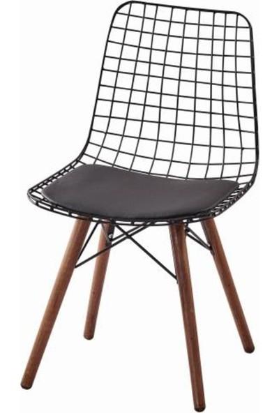 Bendegan Ahşap Ayaklı Tel Sandalye