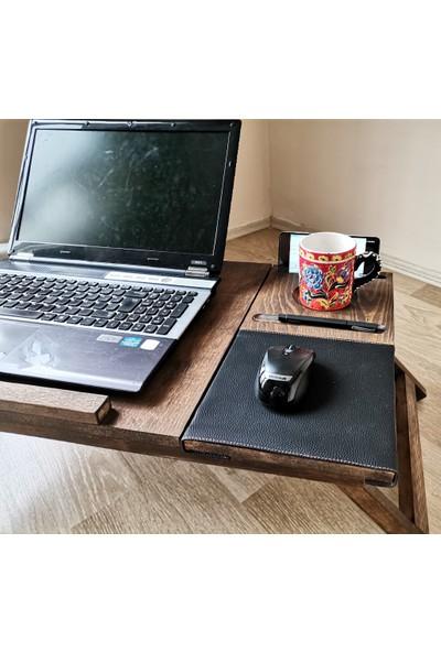 Karinca %100 Ahşap Motifli Laptop Sehpası - Çalışma Masası - Keyif Tepsisi - Bardak Telefon Deri Mouse Pad