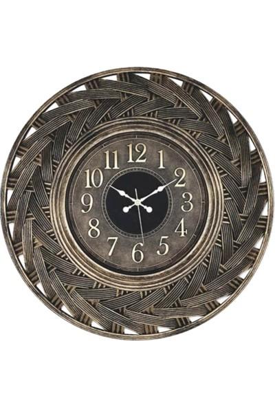 Hasır Sarı Eskitme Duvar Saati 58CM