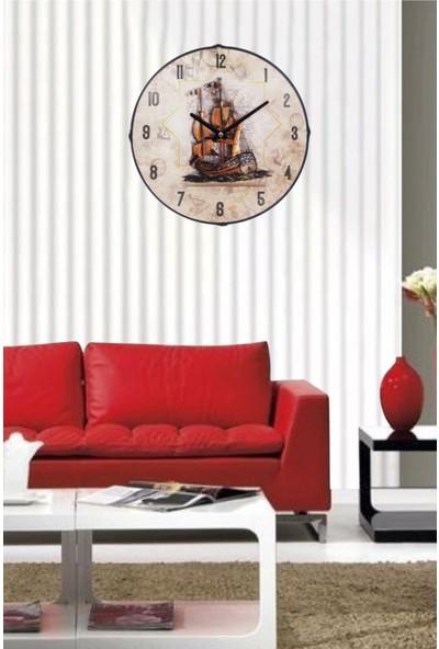 Revello Krem Renk Gemi Temalı Duvar Saati
