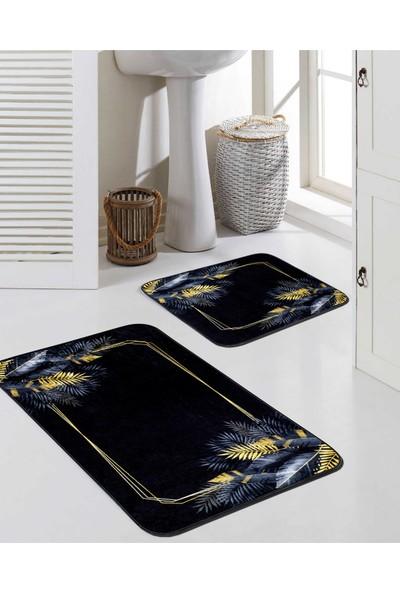 Potamia Newhall Siyah / Gold Desenli Banyo Seti