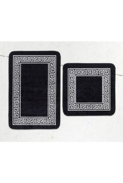 Potamia Newhall Siyah / Beyaz Desenli Banyo Seti
