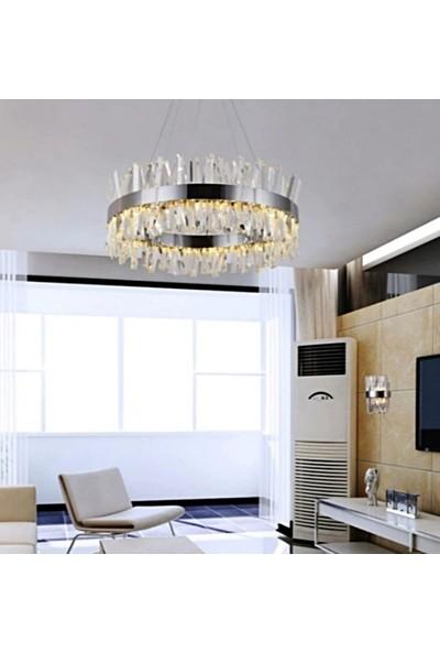 Burenze A++ Luxury Modern Kristal Taşlı Sarkıt Power LED Avize Kademeli 3 Renk Krom 60'lık BURENZE519
