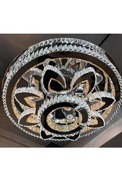 Burenze A++ Modern Plafonyer Kristal Taşlı Power LED Avize Kademeli 3 Renk Krom BURENZE22