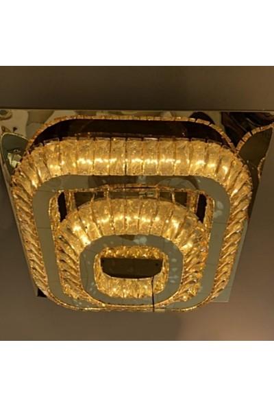 Burenze A++ Luxury Modern Plafonyer Kristal Taşlı Power LED Avize Kademeli 3 Renk Krom BURENZE88
