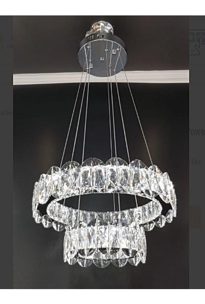 Burenze A+ Modern Sarkıt Ikili Kristal Taşlı Power LED Avize Kademeli 3 Renk Kumandalı Krom BURENZE781