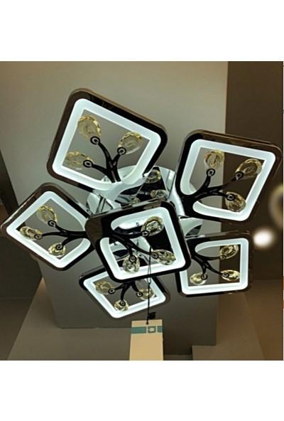 Burenze A+ Modern Plafonyer Power LED Avize Kristal Taşlı Concept Ürün Krom Kademeli 3 Renk BURENZE438