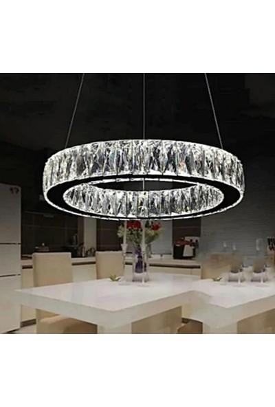 Burenze A+ Modern Sarkıt Kristal Taşlı Power LED Avize Kumandalı 3 Renk BURENZE81